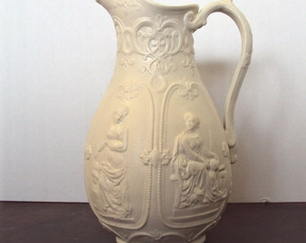 English Pottery Relief Molded Jug with Muses or Goddesses Staffordshire dated March 25, 1848