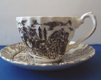 "Staffordshire Cup and Saucer ""Royal Mail"" Transferware"