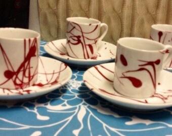 Blood splatter espresso set hand-painted coffee wine glass margarita espresso mugs  mug dexter true blood vampire blood splatters- love you-