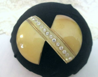 Vintage 1920's Art Deco Thermoset Plastic,Rhinestone & Gold Painted Brooch, C Clasp, Celluloid, Yellow,