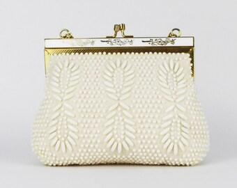 White Beaded Handbag - Bridal Purse - Vintage 1970s Kiss Lock Evening Bag