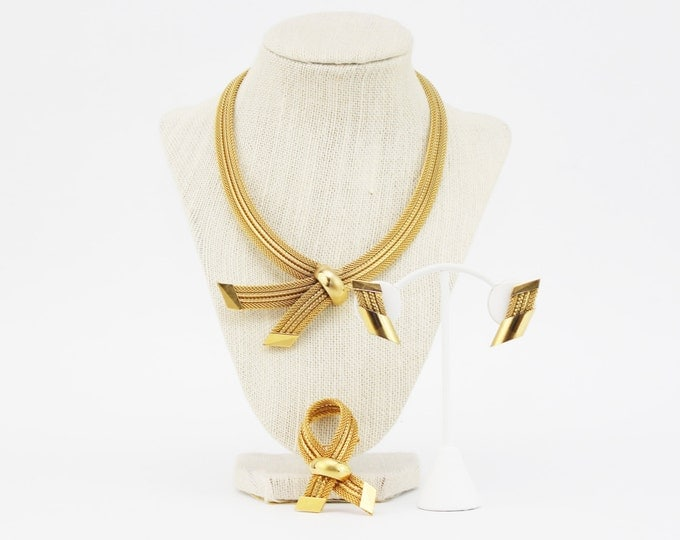Hobe Gold Necklace Set - Vintage 1960s Avant Garde Necklace Brooch and Earrings