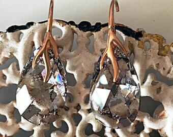 Rare Swarovski Earrings Rose Patina Crystal Earrings Swarovski Rose Gold 24k Dangle Earrings Bridal Swarovski Earrings Dainty Diamond Drops