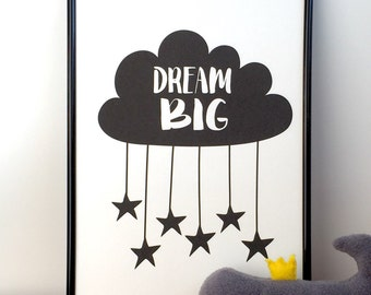 Nursery print Dream big. Monochrome nursery decor black and white. Monochrome nursery print. Kids wall art