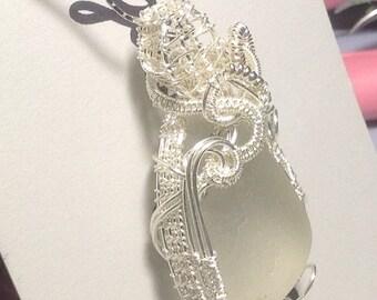 Sea Glass Necklace wire wrapped beach wear