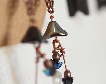 Boho Earrings/Blue Earrings/Czech Glass Earrings/Iridescent Blue Earrings/Boho Dangle Earrings/Sundance Style Jewelry/Sundance/Shabby Chic