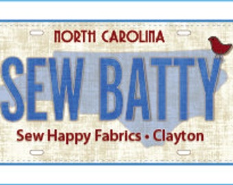 Row by Row Experience - Sew Happy Fabrics 2016 Fabric License Plate Collectible
