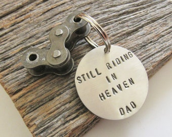 Father's Day Gift for Biker Keyring Motorcycle Dad Keychain Memorial Key Chain Father Death Bereavement Gift Son Still Riding in Heaven Mens