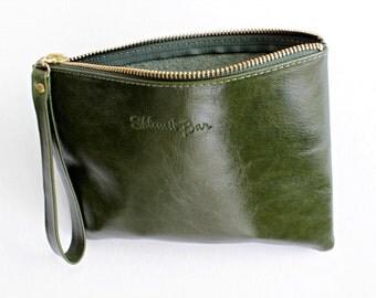 Sale 20% Leather clutch in green , Clutch purse , Woman wallet