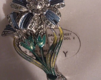 Vintage enamel and marcasite blue flower brooch