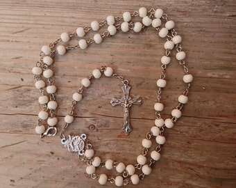 Vintage white glass bead rosary