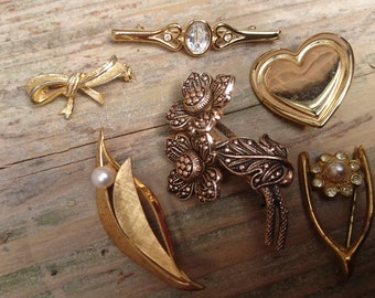 lot of six vintage brooches