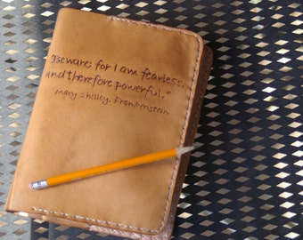 "Refillable Leather Journal Cover ""Mary Shelly"""