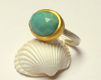 SALE -  Amazonite Ring - Gold ring - Silver ring - 24 k Solid Gold Ring - Silver and gold Ring - Free Shipping!!!
