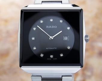 Vintage Swiss Rado Black Stainless Steel AUTOMATIC watch 70's