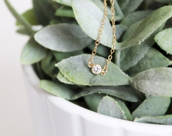Mini Starlight Necklace || Cubic Zirconia Gold Filled Necklace || Delicate Jewelry