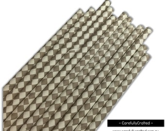 Paper Straws - Grey and White Diamonds - Set of 25 (19.5cm x 0.6cm) #PS80