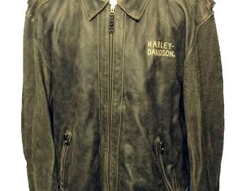 Harley Davidson Brown Distressed Leather Motorcycle Jacket Men's  Size 3 XL