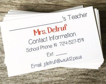 Teacher Business Cards: Teacher Gift - Contact Information Calling Card / Business / Classroom Information Cards - Teacher Supplies
