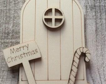 3D laser cut Italian poplarwood christmas hobbit faerie fairy doors perfect for crafting