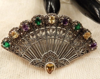 Beautiful Vintage Sterling Silver Multi Coloured Crystal  and Marcasite Fan Brooch