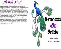 Printable customized peacock-themed wedding program