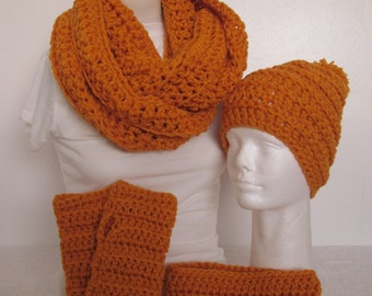 Chunky Infinity Scarf/Beanie/Finger-less Gloves/Headband/Ear Warmer with Rib, Very Light Weight-Gold