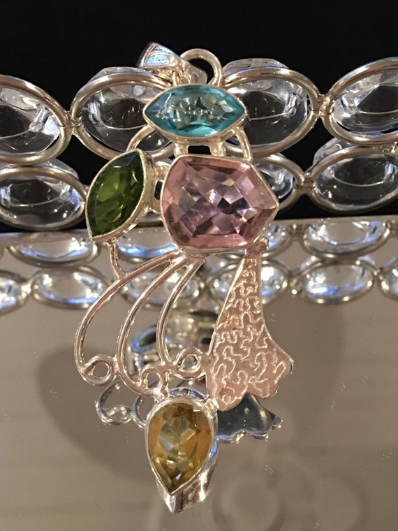 Multi Gemstone Sterling Silver Pendant - Blue Topaz, Peridot, Citrine, & Pink Topaz