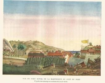Fort Royal De La Martinique Du Cote Du Port French 18th eighteenth century color colour print 1929 Home Decor Vintage Print Wall Art