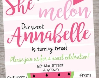 Watermelon Birthday Party Invitation printable digital file