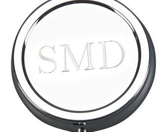 Personalized Round Hinged Pill Box - Silverplated Round Pill Box