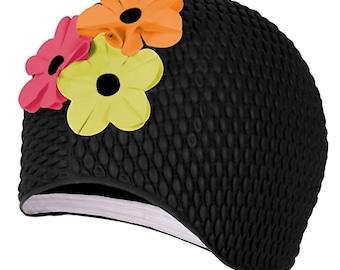 Vintage Retro Style Floral Swim Cap, Black with Contrast Flower Petals