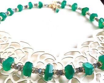 Green Onyx, Labradorite Necklace