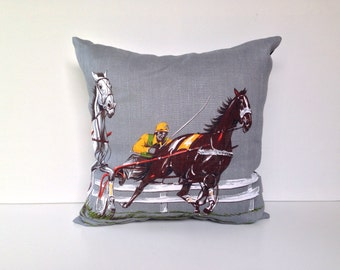 Horse cushion cover Harness racing rustic linen pillow cover