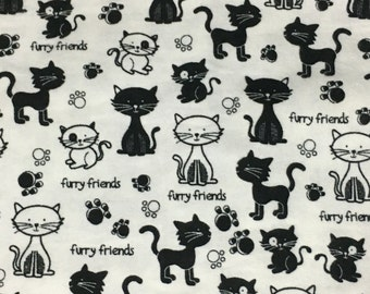 Black and White Furry Friends, Kitty Cat Flannel Blanket - Baby Girl