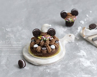 Chocolate St. Honoré gateaux with Oreo Mickey Ears cookies in 1/12 Dollhouse Miniature Cake