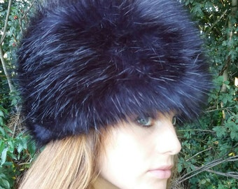 Stunning Blue Black Luxury Faux Fur Hat