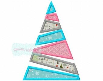Geometric Christmas Tree Applique Design Buy2 Get1