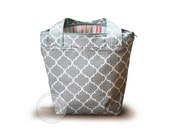 Grey quatrefoil zipper top tote bag  /  Striped knitting bag  / grey and pink tote bag