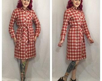 Vintage 1960's Rust Plaid Long Sleeve Dress