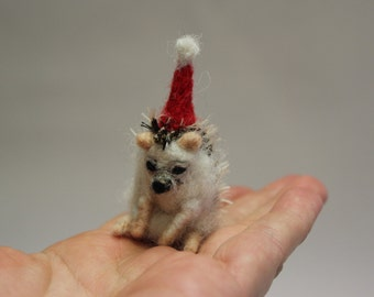 Needle Felted Hedgehog-Christmas Hedgehog-Handmade Christmas-Needle Felted Animal-Wool Animal