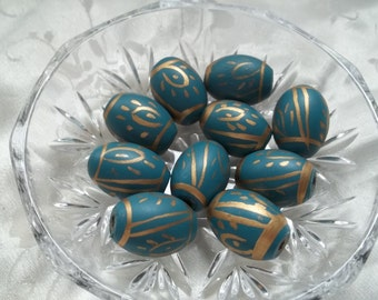 Teal Oval Wood Beads Gold Hand Painted 22mm x 18mm Set of 10 #1202