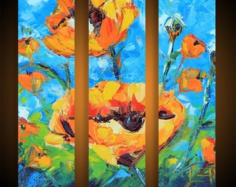 Poppy Art, Painting, Custom, Commission, Made to order, Large 36x36 Poppies, Impasto Texture Three Panel Triptych Artwork by Lisa Elley