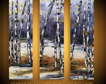 Birch Tree Painting, Large Wall Art, Made to order, Large Art, 36x36, Fall Birch Trees, Impasto Art, Textured Painting, Three Panel,Triptych