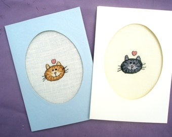 Cat card, personalized handmade embroidery greeting cross stitch custom linen blank greetings animal critter pet