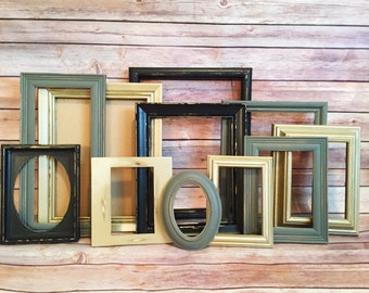 Custom Bright Gold, Black & Gray Shabby Frame Set Distressed Frames with Glass Backing