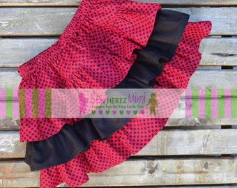 Ladybug Inspired Red Black Triple Ruffle Twirly Skirt NB, 0-3 mo, 3-6 mo, 6-9 mo, 9-12 mo, 12-18 mo, 18-24 mo