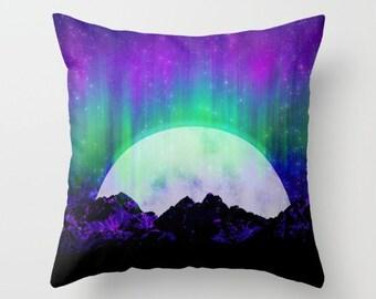 Moon Throw Pillows - Northern Lights Couch Pillows - Full Moon Sofa Pillows - Decorative Pillows