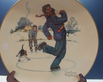 Norman Rockwell 1974 Limited In Edition Collector Plate. Winter-Gay Blades