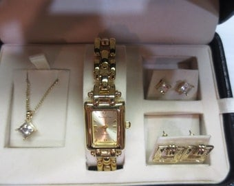 Vintage Main Line Time Set With Watch, Necklace And 2 Pairs of Earrings